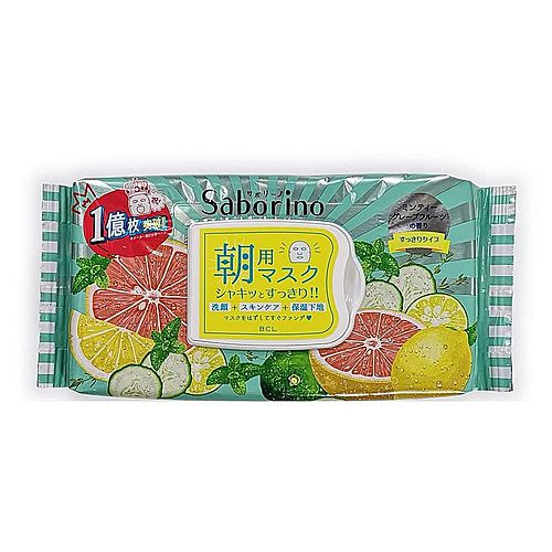 BCL Маска-салфетка для лица освежающая - Saborino morning face mask minty grapefruit, 32шт