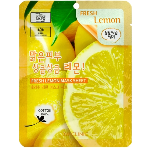 3W Clinic Маска тканевая для лица лимон - Fresh lemon mask sheet, 23мл