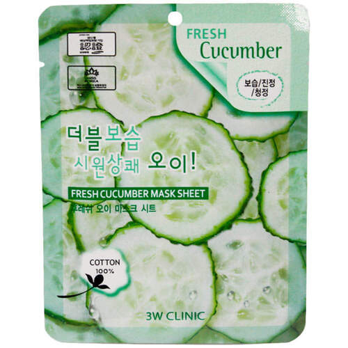 3W Clinic Маска тканевая для лица огурец - Fresh cucumber mask sheet, 23мл