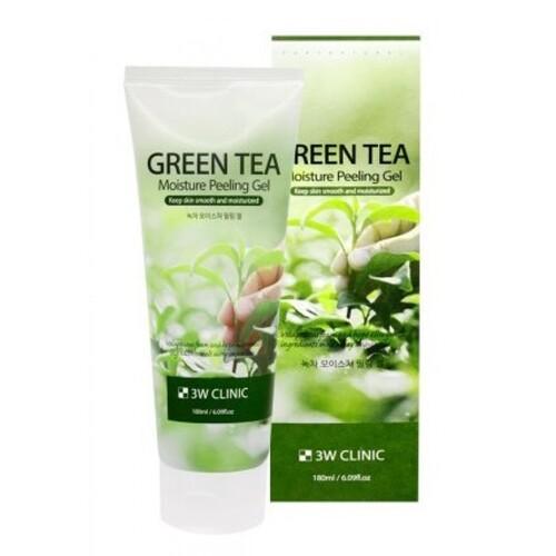3W Clinic Гель-пилинг увлажняющий с экстрактом зеленого чая - Green tea moisture peeling gel, 180мл