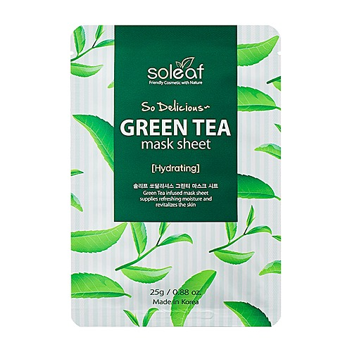Soleaf Маска для лица с зеленым чаем - So delicious green tea mask sheet, 25мл