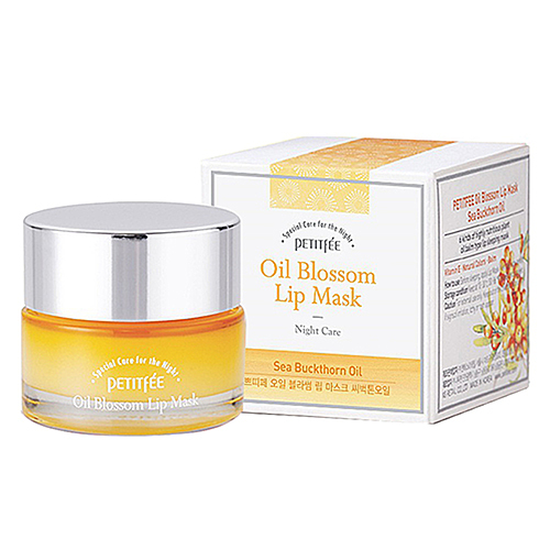 Petitfee Маска для губ с витамином Е и маслом облепихи - Oil blossom lip mask sea buckthorn, 15г
