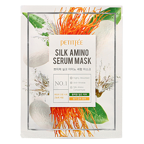 Petitfee Маска для лица тканевая с протеинами шелка - Silk amino serum mask, 25г